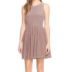 Silk Joie fit and flare pleated dress tank L